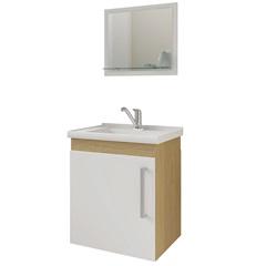 Gabinete Suspenso para Banheiro Viena com Espelho 42x50cm Nogueira E Branco - MGM Móveis