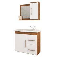 Gabinete Suspenso para Banheiro Vix 56,5x63,5cm Amêndoa E Branco - MGM