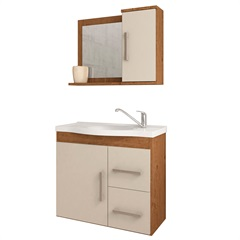 Gabinete Suspenso para Banheiro Vix 56,5x63,5cm Amêndoa E Off White - MGM