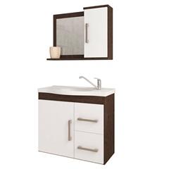 Gabinete Suspenso para Banheiro Vix 56,5x63,5cm Branco E Café - MGM