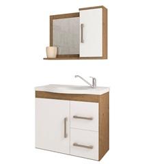 Gabinete Suspenso para Banheiro Vix 56,5x63,5cm Branco E Carvalho - MGM