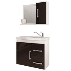 Gabinete Suspenso para Banheiro Vix 56,5x63,5cm Branco E Preto - MGM
