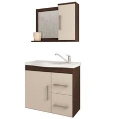 Gabinete Suspenso para Banheiro Vix 56,5x63,5cm Café E Off White - MGM