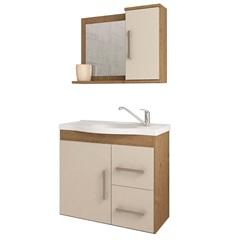 Gabinete Suspenso para Banheiro Vix 56,5x63,5cm Carvalho E Off White - MGM