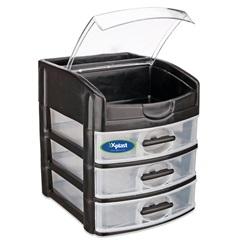 Gaveteiro de Mesa com 3 Gavetas Organizer Plus Preto E Transparente - Xplast
