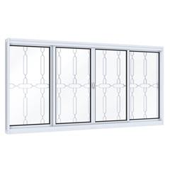 Janela de Correr Central com Grade Mosaico Facilità 100x120cm Branco - Lucasa