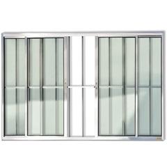 Janela de Correr com 4 Folhas E Grade em Alumínio Confort 100x150cm Brilhante - Brimak