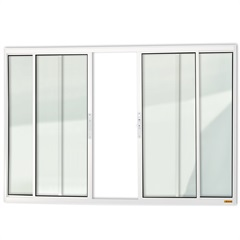 Janela de Correr com 4 Folhas em Alumínio Confort 100x100cm Branca - Brimak