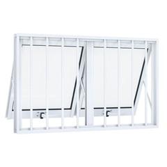 Janela Maxim-Ar Dupla Horizontal em Alumínio com Grade 100x60cm Branca - Lucasa