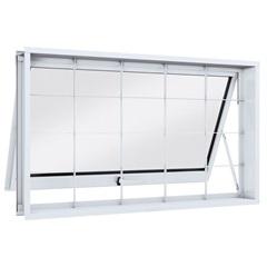 Janela Maxim-Ar em Aço com Grade Quadrada 60x80cm Branca - Lucasa