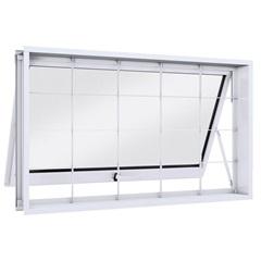 Janela Máximo-Ar com Grade Quadrada Facilità 60x100x12cm Branca - Lucasa