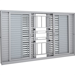 Janela Veneziana de Correr Central com Grade Clássica Aluminium Multiflex 100x150cm Branca - Sasazaki