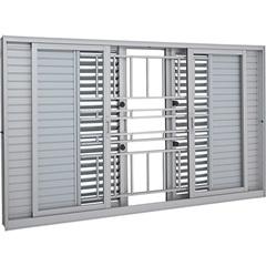 Janela Veneziana de Correr Central com Grade Multiflex Aluminium 100x200cm Branca - Sasazaki