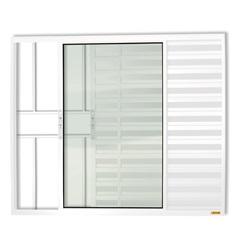 Janela Veneziana de Correr com 3 Folhas E Grade em Alumínio Confort 100x150cm Branca - Brimak