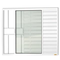 Janela Veneziana em Alumínio Confort 3 Folhas com Grade 100x100cm Branca - Brimak