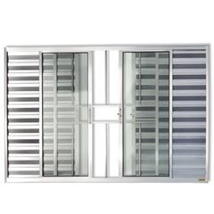 Janela Veneziana em Alumínio Confort 3 Folhas com Grade 100x100cm Brilhante - Brimak