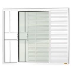 Janela Veneziana em Alumínio Confort 3 Folhas com Grade 100x120cm Branca - Brimak
