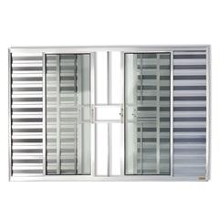 Janela Veneziana em Alumínio Confort 3 Folhas com Grade 100x120cm Brilhante - Brimak