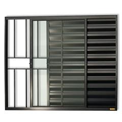 Janela Veneziana em Alumínio Confort 3 Folhas com Grade 100x120cm Preta - Brimak