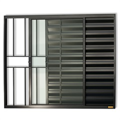 Janela Veneziana em Alumínio Confort 3 Folhas com Grade 100x150cm Preta - Brimak