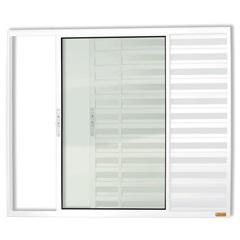 Janela Veneziana em Alumínio Confort 3 Folhas sem Grade 100x150cm Branca - Brimak