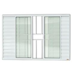 Janela Veneziana em Alumínio Confort 6 Folhas com Grade 100x120cm Branca - Brimak