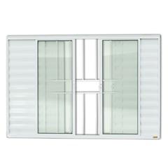 Janela Veneziana em Alumínio Confort 6 Folhas com Grade 100x150cm Branca - Brimak