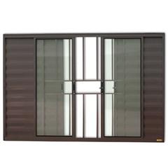 Janela Veneziana em Alumínio Confort 6 Folhas com Grade 100x150cm Marrom - Brimak