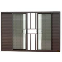 Janela Veneziana em Alumínio Confort 6 Folhas com Grade 100x200cm Marrom - Brimak