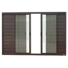 Janela Veneziana em Alumínio Confort 6 Folhas sem Grade 100x120cm Marrom - Brimak