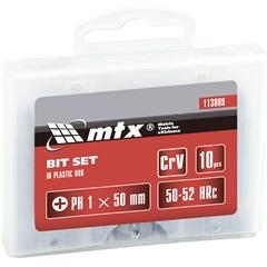 Jogo de Bits Phillips 1/4x50mm com 10 Peças Cromado - MTX