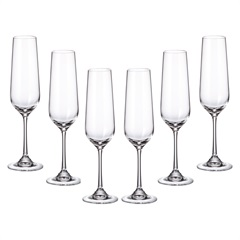 Jogo de Taças para Champagne em Cristal Strix 200ml Transparente com 6 Peças - Cristais Bohemia