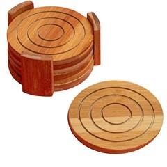 Jogo Porta Copos Redondo Rust Bamboo 7 Peças  - Casa Etna