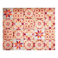 Kit Adesivo Ladrilho Floral 15x15cm Rosa com 18 Peças - Casa Etna