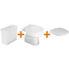 Kit Bacia + Caixa Acoplada com Mecanismo Dual Flush 3 E 6 Litros + Assento Sanitário Vogue Plus - Kit