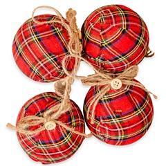 Kit Bola de Natal Xadrez Hang Vermelha com 8 Peças - Casa Etna