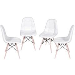 Kit Cadeira Eames Botonê com Base de Madeira Branca com 4 Peças - Ór Design