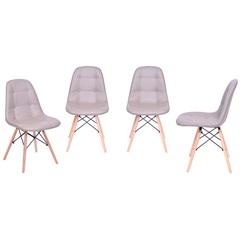Kit Cadeira Eames Botonê com Base de Madeira Fendi com 4 Peças - Ór Design