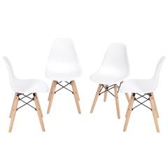 Kit Cadeira Eames com Base de Madeira Branca com 4 Peças - Ór Design