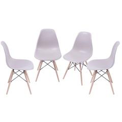 Kit Cadeira Eames com Base de Madeira Fendi com 4 Peças - Ór Design