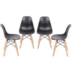Kit Cadeira Eames com Base de Madeira Preta com 4 Peças - Ór Design