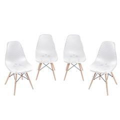 Kit Cadeira Eames com Furos E Base de Madeira Branca com 4 Peças - Ór Design