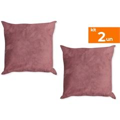 Kit com 2 Almofadas Lisas Suede Drank Rose 45x45cm - Kit