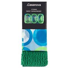 Kit Cortina E Tapete para Banheiro Bolas 180x180cm Verde E Azul - Casanova