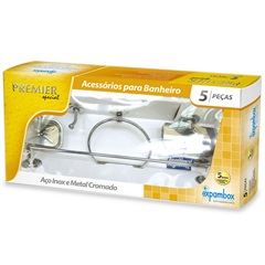 Kit de Acessório para Banheiro Premier com 5 Peças Prata - Expambox