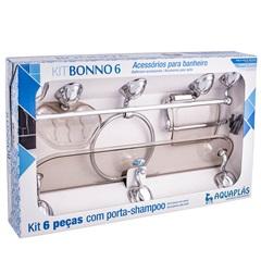 Kit de Acessórios para Banheiro Bonno com 6 Peças Fumê - Aquaplás