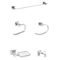 Kit de Acessórios para Banheiro com 5 Peças 503 C 34 Athena Cromado - Meber