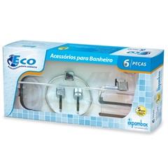 Kit de Acessórios para Banheiro com Toalha Eco com 6 Peças Cromado