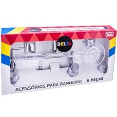 Kit de Acessórios para Banheiro Delta com 5 Peças Cromado - Aquaplás