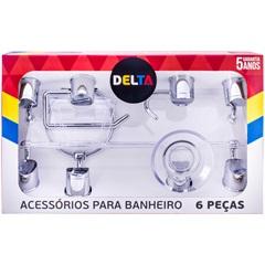 Kit de Acessórios para Banheiro Delta com 6 Peças Cromado - Aquaplás